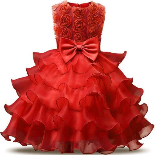 Kids Baby Girls Princess Dress Wedding Bridesmaid Pageant Party Bow Tutu Dress