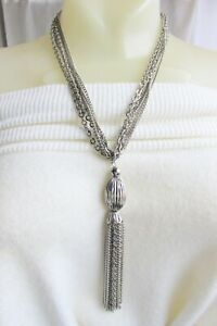 """Vintage 1970 Chunky Chain 5-1/2"""" Tassel Pendant Necklace Silver Plate Onion Bead"""