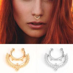 8a3ddf6655a Women Vintage Non Piercing Faux Septum Nose Ring Hoop Fashion False ...