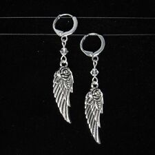 SJ1~3D Rose Flower Angel Wing Charm Crystal Sterling Silver Dangle Earrings