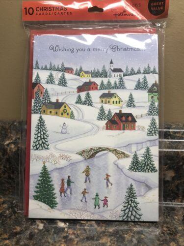 Hallmark CHRISTMAS CARDS Premium 10 cartes avec enveloppes NEUF sous emballage