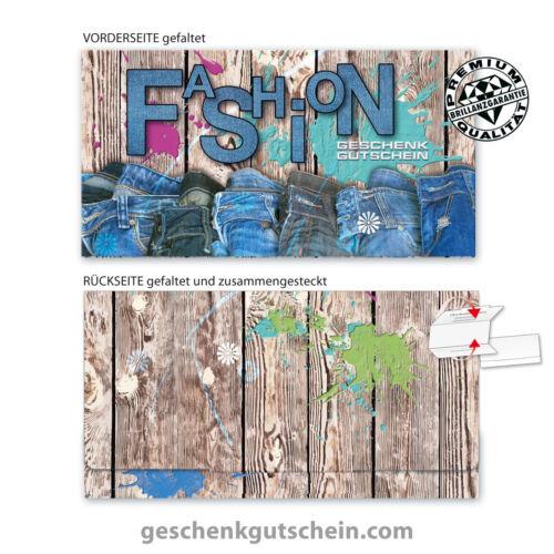 """Premium Faltgutscheine /""""Multicolor/"""" für Mode Fashion Bekleidung Allgemein FA254"""