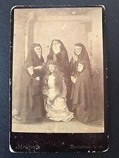 Catholic Nun Group Taking The Veil Hair Cut Cabinet Card Photo Charlestown WV