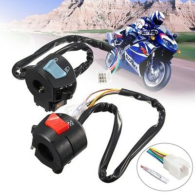 2x Universal 7/8'' Motorcycle Handlebar Control Switch Horn Turn Signal Light