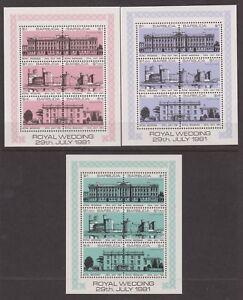 1981-Matrimonio-Reale-Charles-amp-Diana-Gomma-integra-non-linguellato-Francobolli-Timbro-FOGLI