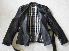 Burberry London AUTH Quilted Black Leather Biker Belted Zippy Jacket 6 UK8 NWT
