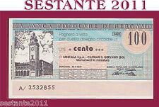 POPOLARE BERGAMO, LIRE 100 30.3. 1977, MINITALIA CAPRIATE SAN GERVASIO, FDS, B98