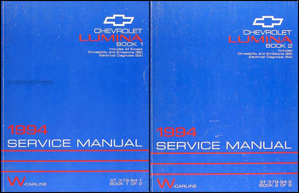 1994 Chevy Lumina And Euro Z34 Repair Shop Manual Set 94