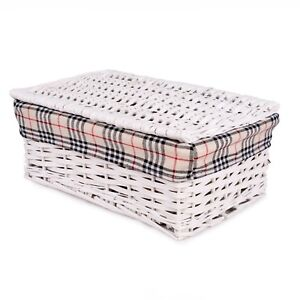 Image Is Loading White With Lid Wicker Storage Shelf Basket Collection