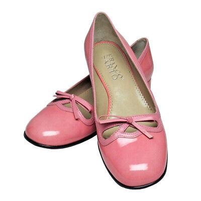 Franco Sarto Pink Patent Leather Round Toe Low Heel Slip