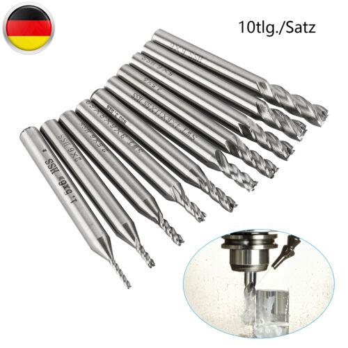 10x Fräsersatz HSS Gerade Schaft 4 Flöte End Schaftfräser Fräser-Set 1,5-6mm DIY