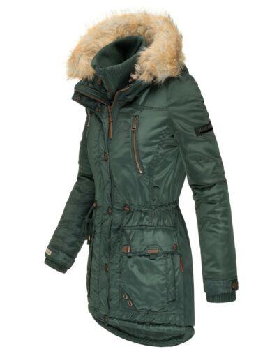 Marikoo Damen Winter Jacke Parka Mantel Kunstfell Kapuze Gefüttert Grinsekatze