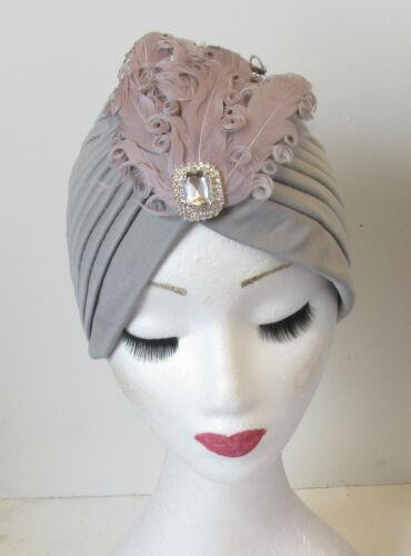 Gris argent plume turban Strass Bandeau tambour vintage cloche 1920 N57