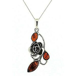 The-Olivia-Collection-Sterling-Silver-Rose-Flower-Amber-Pendant-on-18-034-Chain