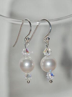 925 Argento Sterling Orecchini Realizzati Con Elementi Swarovski Perle E Cristalli-mostra Il Titolo Originale