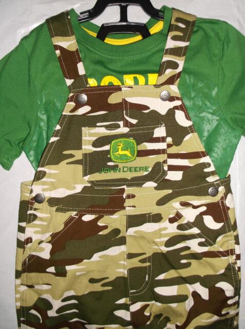 f69a6f8e2 NWT John Deere boys green camo shorts set outfit BORN TO FARM 4T Great Gift!