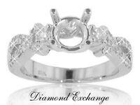 0.75 CT Round Cut Diamond Semi Mount Engagement Ring In 14 Kt White Gold
