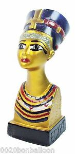 "Queen Nefertiti Pharaoh Figurine Statue Ancient Painted 3D Sculpture 5.2""  (201)"
