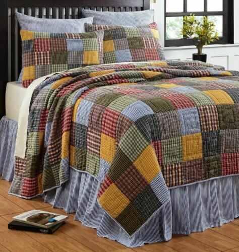 KING Size 100/% Cotton Patchwork Reversible 3 Pc Cottage Quilt Set Machine Wash