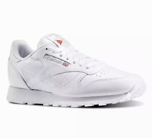 1e202734dc2 REEBOK CLASSIC LEATHER TRIPLE WHITE GRAY LOGO MENS 9 / WOMENS 10.5 ...