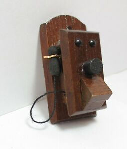 1:12 Scale Wooden Dollhouse Miniature Accessories Antique Style Wall Telephone