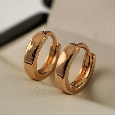 18ct Yellow Gold Filled Smooth Simple Plain Hoop Sleeper 12mm Earrings UK 183