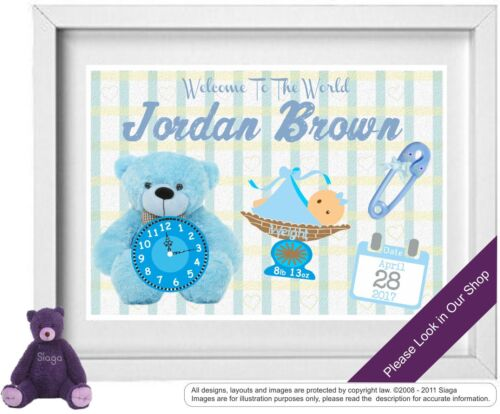 BABY BOY Personalised Picture New Birth Christening Nursery Picture NP002