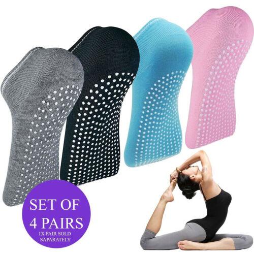 Non Slip Yoga Chaussettes exercice barre Ballet Cheville GRIP coton Pilates Exercice Gym