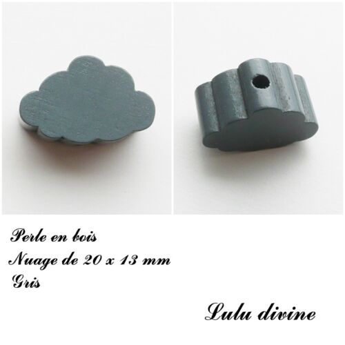 Gris Perle en bois de 20 x 13 mm Perle plate petit Nuage