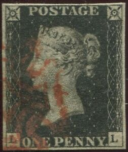 Great-Britain-1840-1d-Penny-Black-039-LL-039-Plate-8-4-Good-Margins-Red-Maltese-X