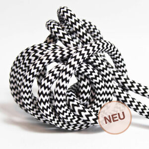 Textilkabel 3-adrig Lampenkabel 3x1,5mm² Schwarz Ersatzkabel Premium Design