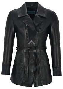 SARINA-Ladies-Real-Leather-Trench-Coat-Black-Mid-Length-Classic-Lambskin-Jackets