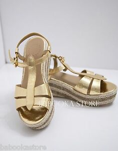 Marc-Jacobs-Espadrille-Wedge-Sandals-Gold-Women-039-s-size-7-5