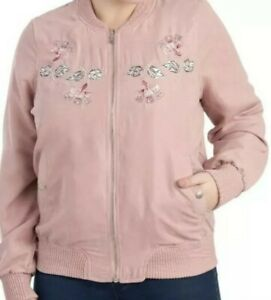 ODYN-Junior-039-s-Size-Large-Pink-Bomber-Jacket-Lined-w-Floral-Embroidery-Boho