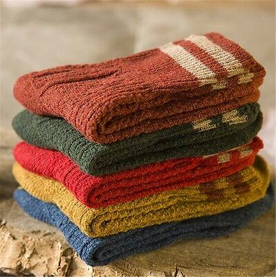 5 Pairs New Womens Cashmere Wool Thick Warm Socks Winter Fashion Striped Design