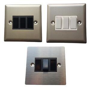 Volex 3 Gang 2 Way 10a Light Switch Black White Satin Chrome Stainless Steel Ebay