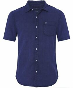 True-Religion-Men-039-s-Short-Sleeve-Button-Up-Woven-Shirt