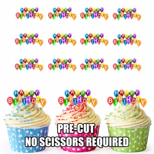 PRECUT Happy Birthday Balloons 12 Edible Cupcake Toppers Party Cake Decorations