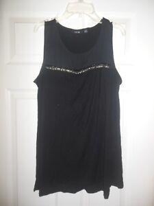 9107216f96442 APT 9 Women s Black Tunic Blouse Sleeveless size Medium Beaded