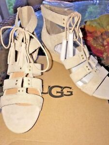 2a3df494c53 Details about UGG Yasmin Lace Up Wedge Horchata Women's Shoes NIB 7.5  1015067
