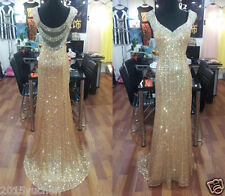 Gold Sequins Cocktail Evening Party Gowns Pageant Long Prom Dresses Custom Size