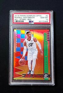 PSA 10 2018-19 Optic RUSSELL WESTBROOK ALL-STARS RED HOLO PRIZM /99 GEM MT POP 1