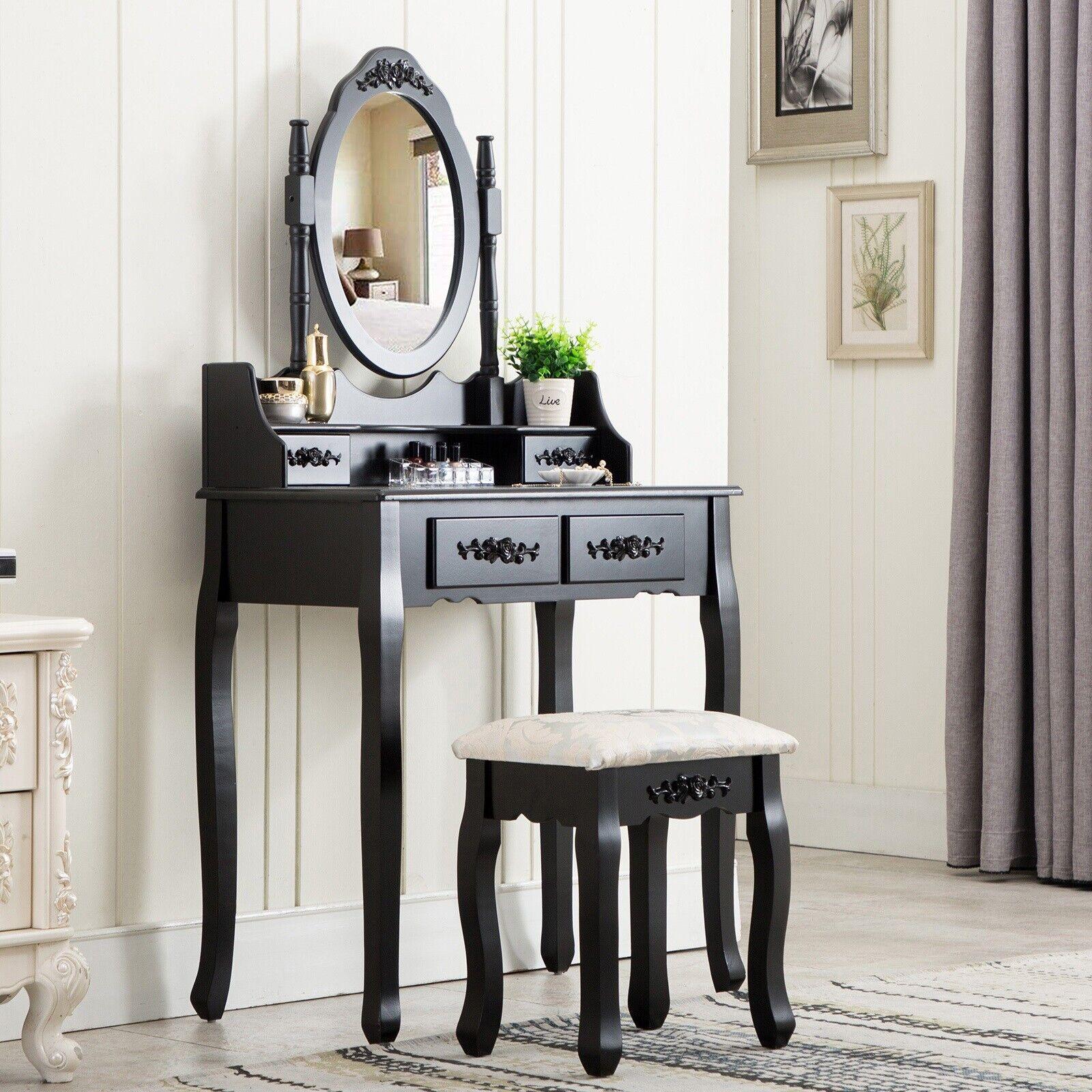 Vanity Table Desk Stool Mirror Drawer Set Make Up Powder Room Corner Bedroom For Sale Online Ebay