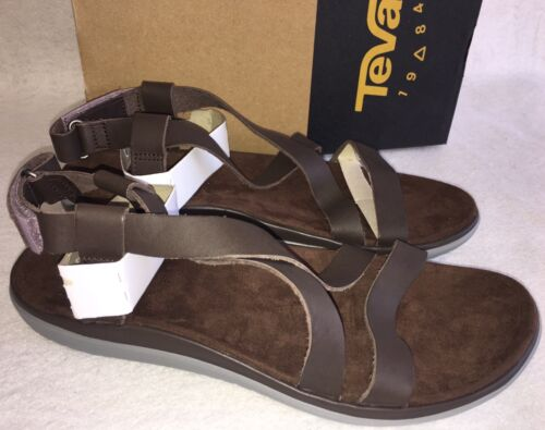 TEVA TERRA FLOAT LIVIA LUX Brown LEATHER STRAPPY SANDALS 1009810 WOMENS