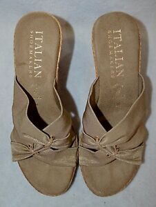 Details about Italian Shoemakers Women's Daisy Beige Wedge Sandal Size 7910 NWB