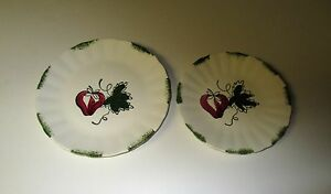 Vintage-Blue-Ridge-Pottery-2-Strawberry-Sundae-Dessert-Plates