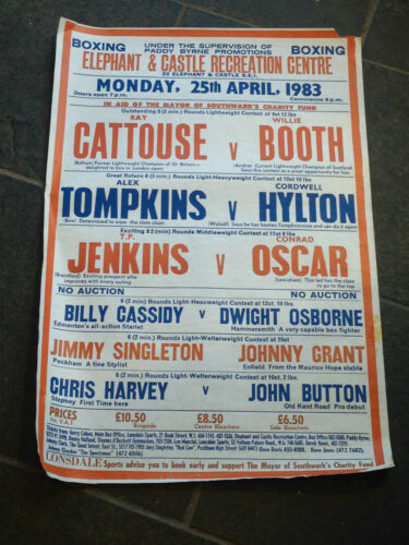 25TH MONDAY APRIL 1983 VINTAGE BOXING POSTER ELEPHANT AND CASTLE ODD R