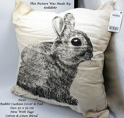Crema ???? Prossimo Nero Animale Stampa Bunny Misto Cotone Lino Cuscino Divano Letto Sedia-
