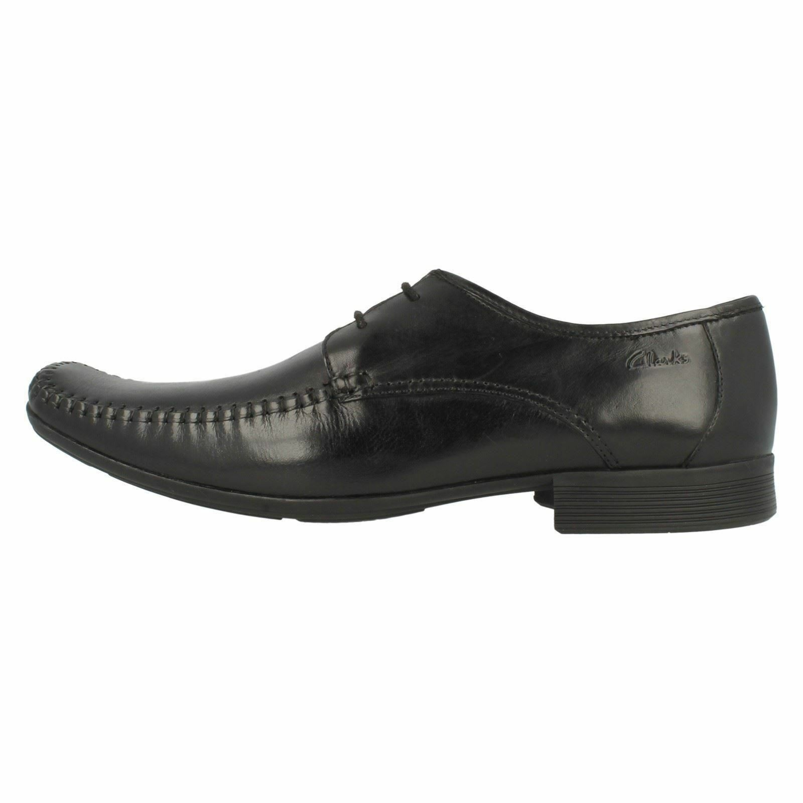 Mens Clarks Ferro Walk Black Leather Smart Moccasin Style Lace Up Shoes