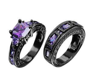 Image Is Loading Junxin Purple Amethyst Ring Wedding Band Black